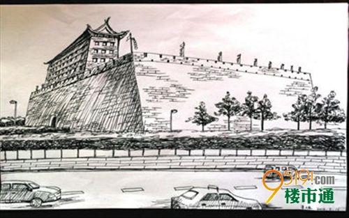 美院学生恋上西安古建筑 手绘城墙美景